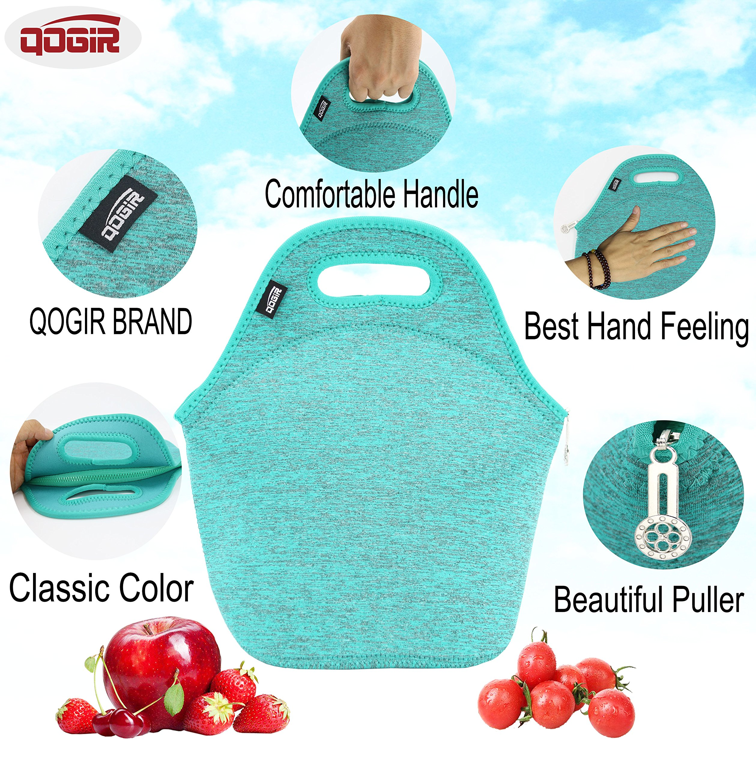 57312b8e4d QOGiR Insulated Neoprene Lunch Bag Tote Purse Boxes and Bottle Sleeve for  Women