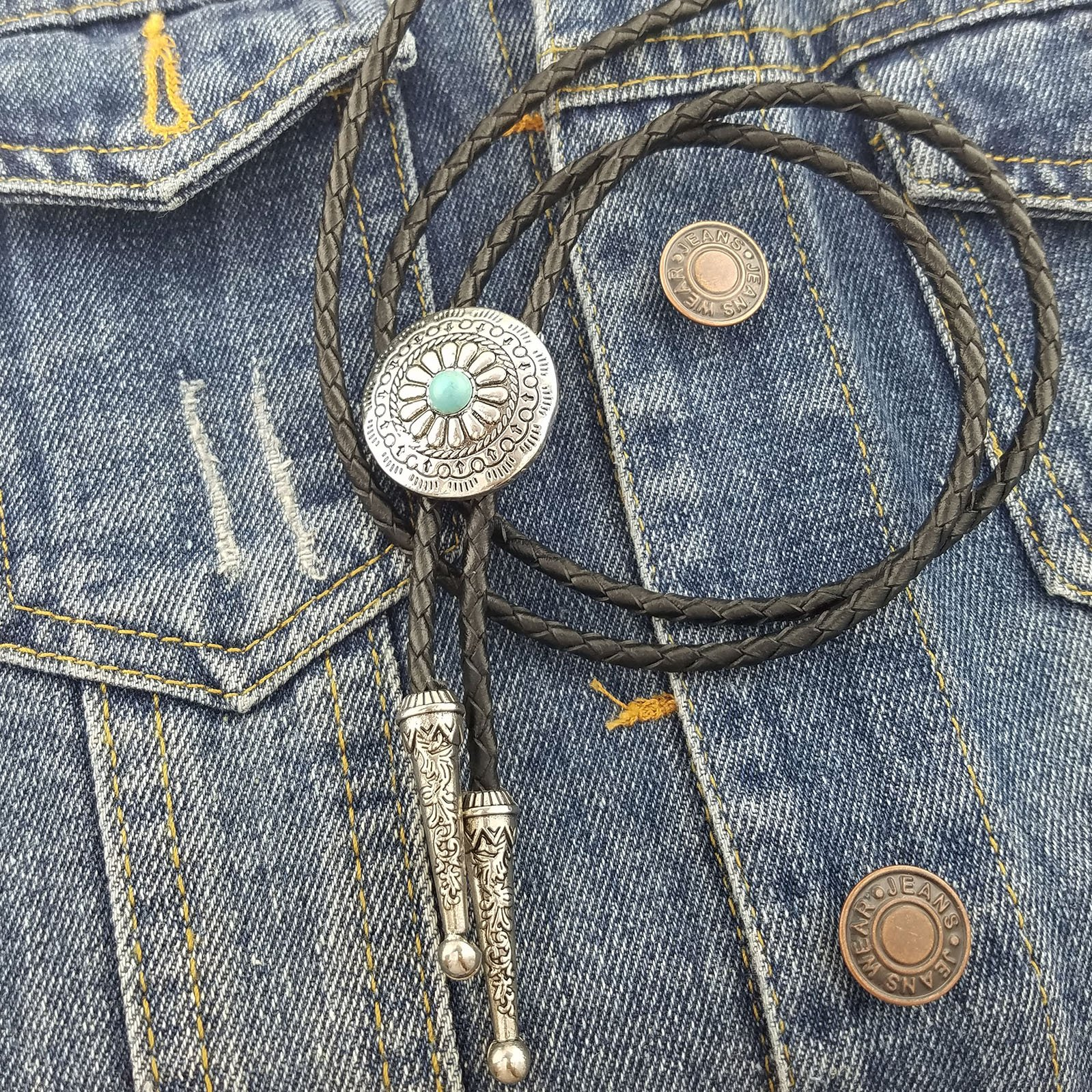 SELOVO Genuine Leather Native American Celtic Coin Bolo Tie Turquise Stone by SELOVO (Image #2)