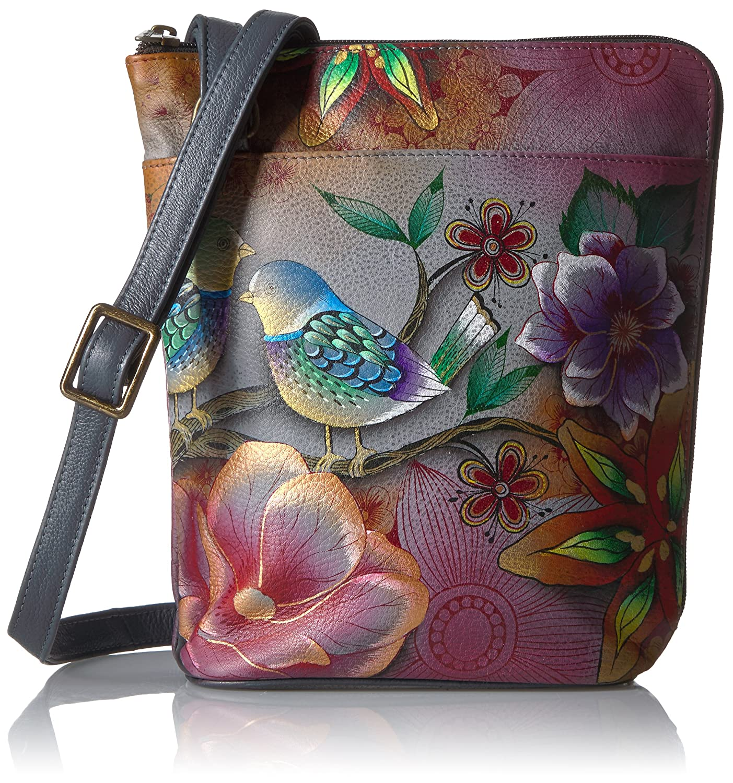 Anuschka Handbemalte Luxus -Leder- Handtasche, 493 Blissful Birds, Damen Umhängetasche