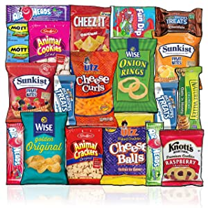 Snacks Box (20 Count) Ultimate Sampler Mixed Box, Cookies Chips Candy Care Package for Office Meetings Schools Friends & Family Military College, Christmas Gifts Baskets, Snack Variety Pack