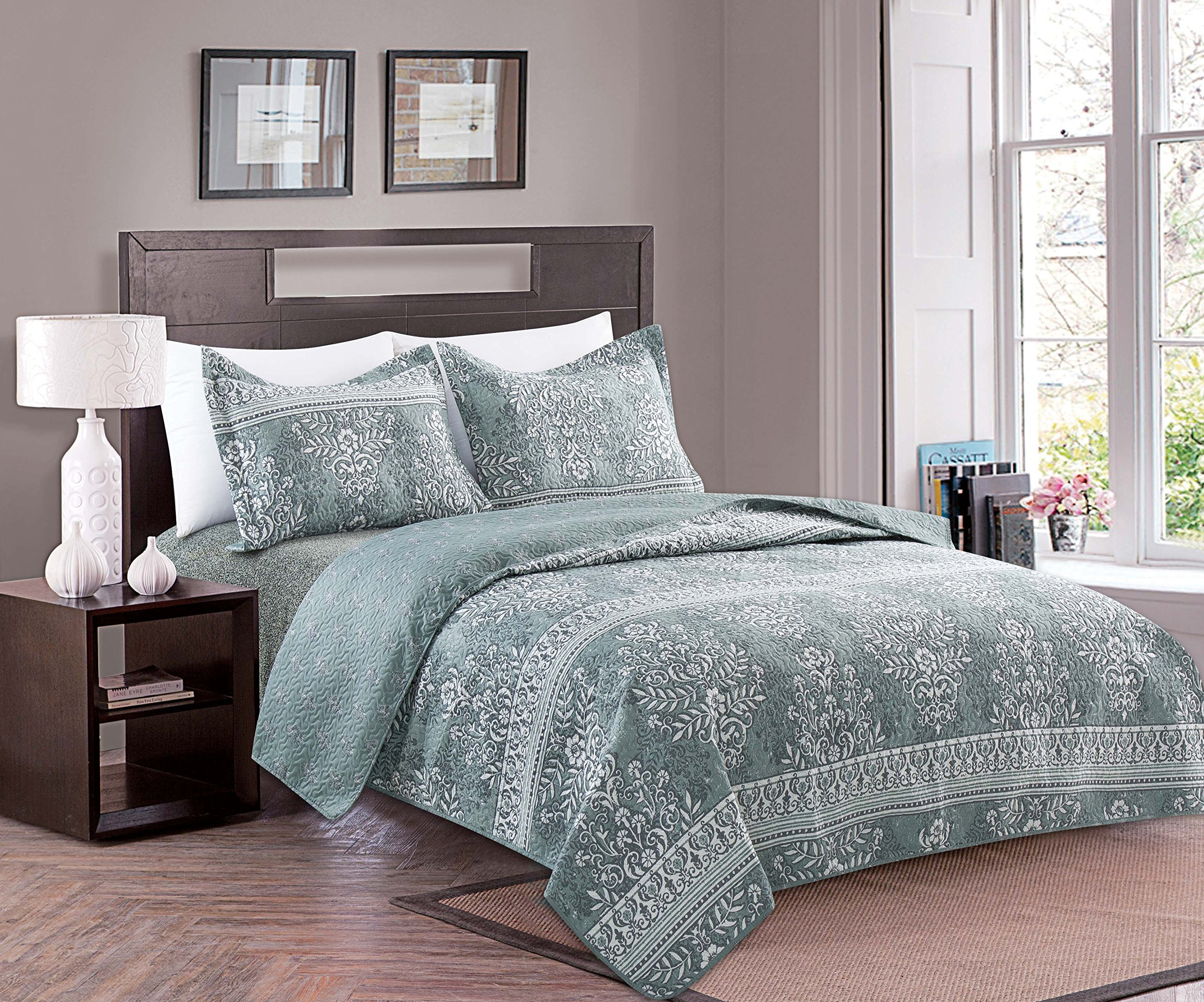 Home Fashion Designs 3-Piece Reversible Quilt Set with Shams. All-Season Bedspread with Modern Pattern. Ambrose Collection By Brand. (Twin, Multi)