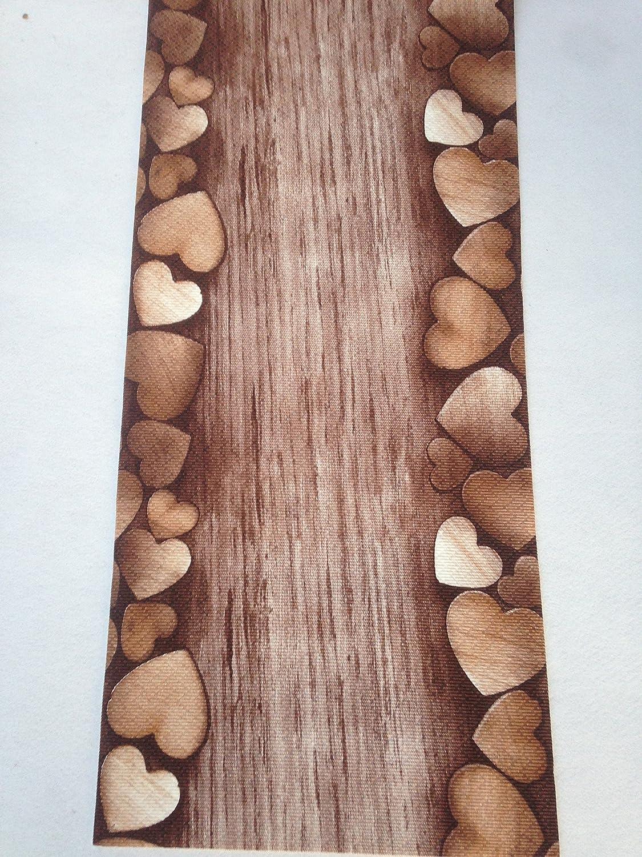 Tappeto cucina a metraggio PVC largo 55 marrone cuori legno: Amazon ...
