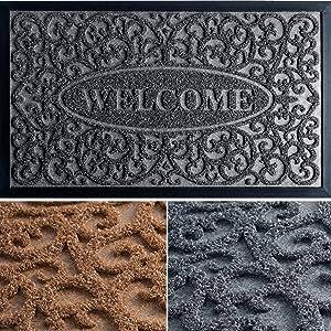 Welcome Mats for Front Door Outdoor - Exclusive Door Mats for Home Entrance Outdoor - 30x18 Door Mat - Durable Welcome Mat - Front Door Mat - Stylish Doormat - Gray Entryway Rug