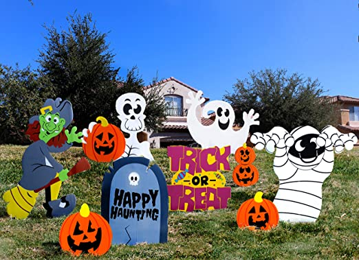 Joyin Friendly Halloween Corrugate Yard Stake Signs 9 Pieces For Halloween Outdoor Indoor Decorations Lawn Yard Decorations Trick Or Treating Halloween Prop Amazon Co Uk Kitchen Home