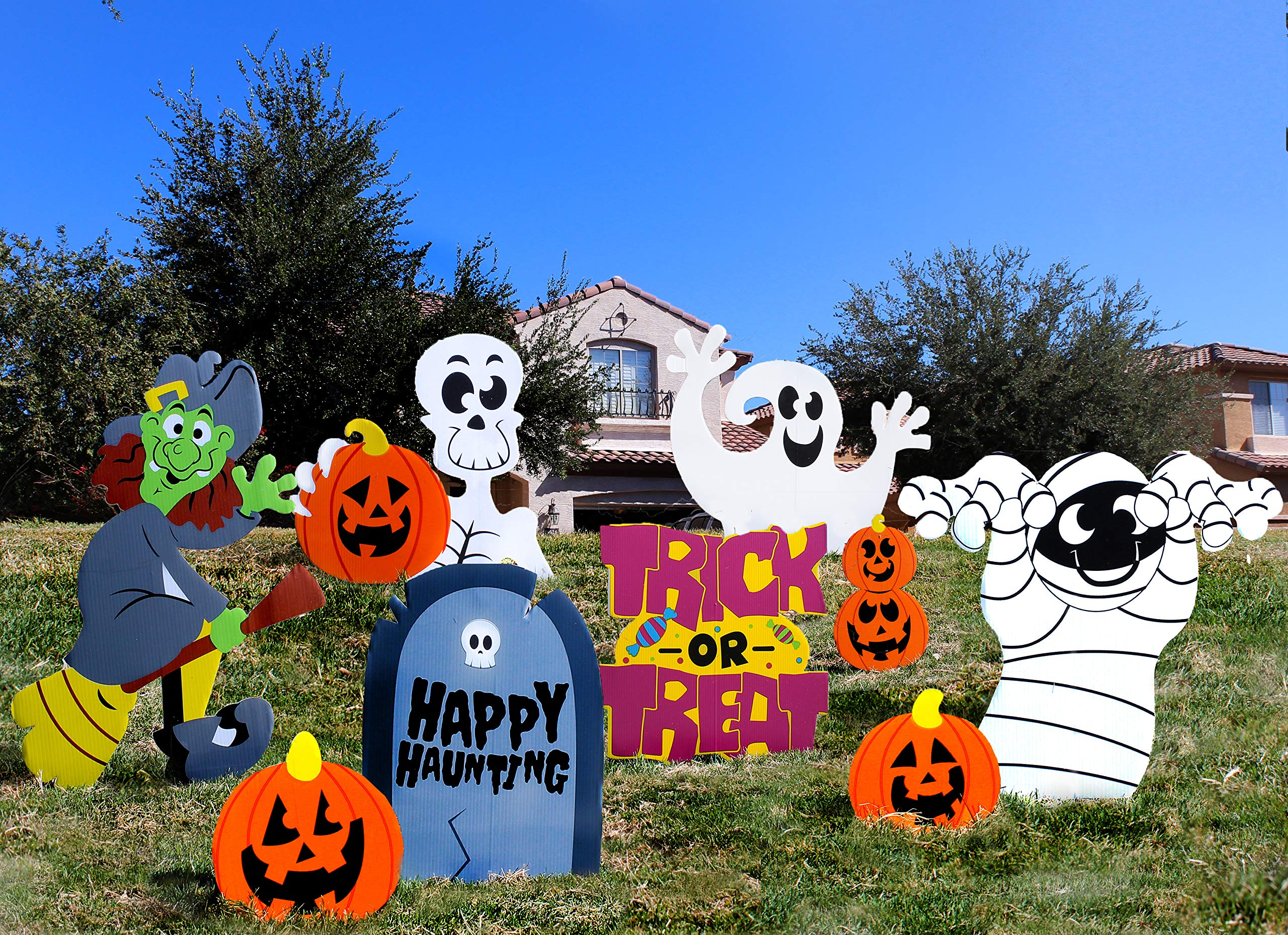 Amazon Funny Trick or Treat Pumpkin Lawn Decoration Signs