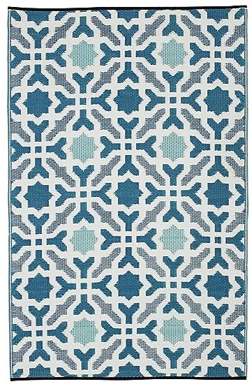 Fab Habitat Seville Indoor/Outdoor Recycled Plastic Rug, Multicolor Blue, (  4u0027