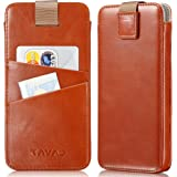 """KAVAJ iPhone X Tasche Leder """"Miami"""" Cognac-Braun iPhone X Ledertasche mit Kartenfach für Original Apple iPhoneX aus Echtleder Hülle Case Lederhülle Ledercase Handyhülle Echtledertasche Schutzhülle"""