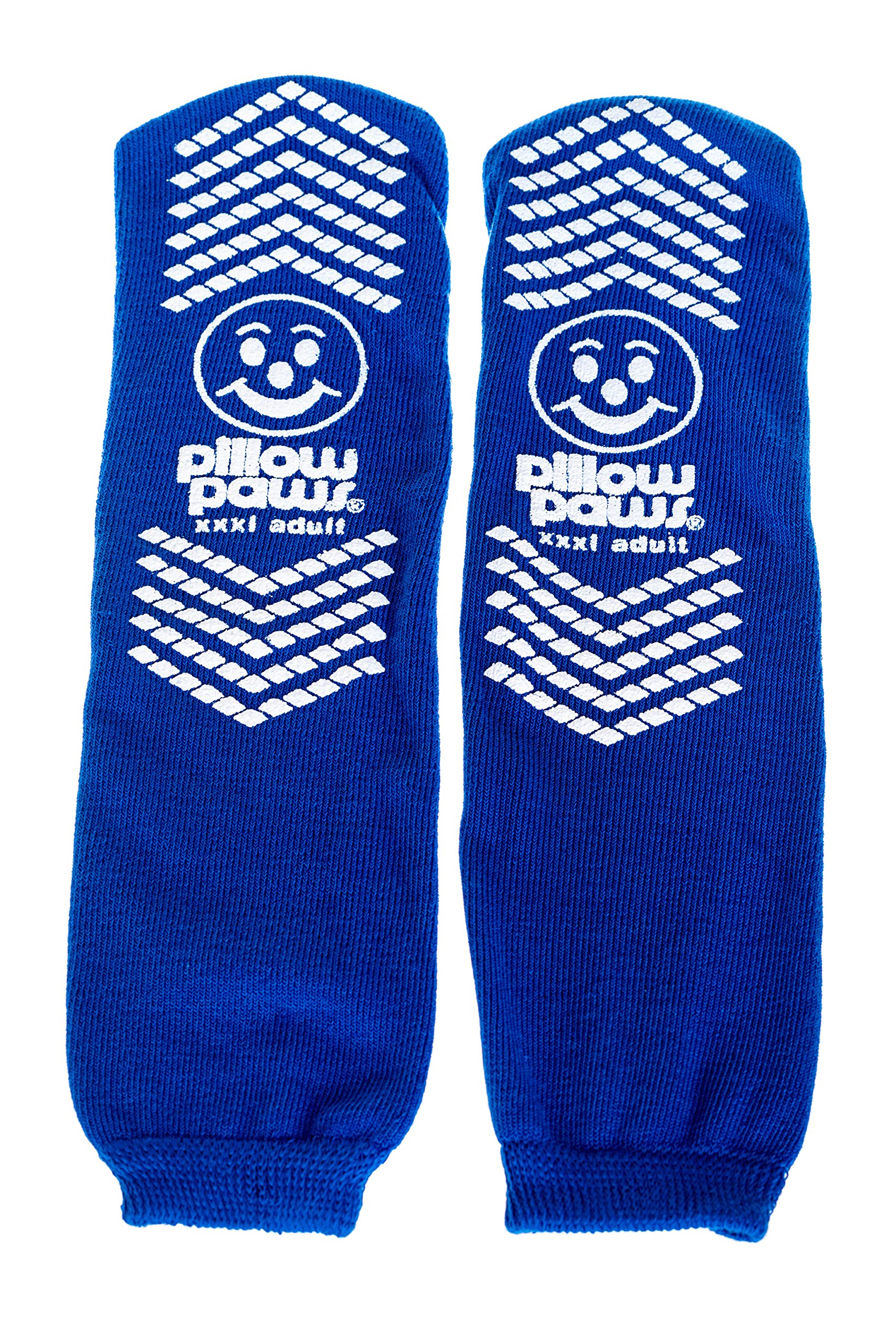 XXXL Blue Slip Stop Non-Skid Slipper Socks (12 Pairs) (Extra Wide Bariatric) by Pillow Paws