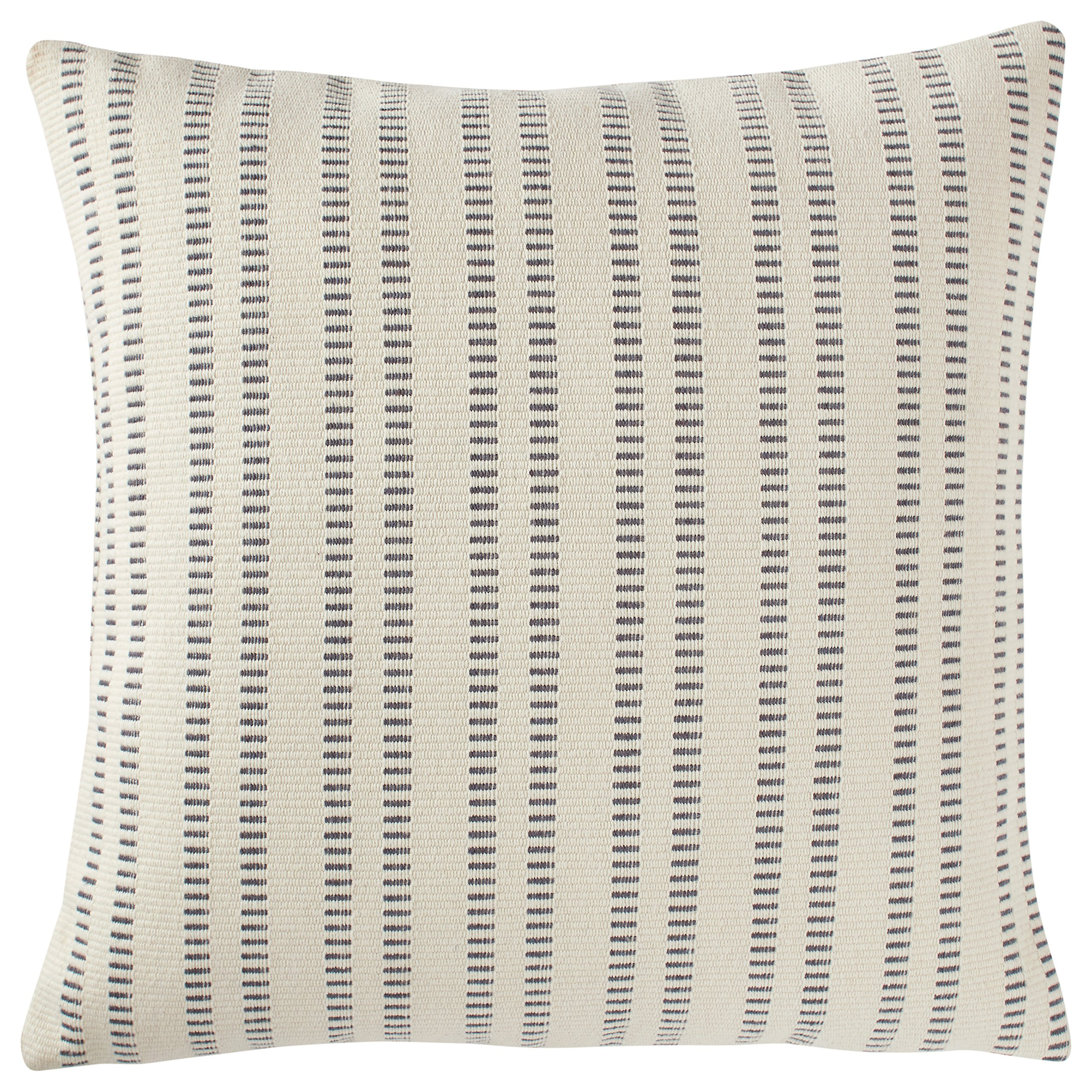 Stone & Beam French Laundry Stripe Pillow, 17'' x 17'', Ivory, Grey by Stone & Beam