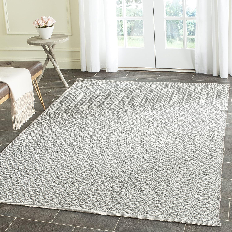 Safavieh Mirabella Flatweave Rug Hand Woven Cotton Carpet In Ivory Grey 121 X 182 Cm Amazon Co Uk Kitchen Home