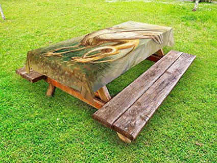 Pleasant Amazon Com Lunarable Fantasy World Outdoor Tablecloth Gmtry Best Dining Table And Chair Ideas Images Gmtryco