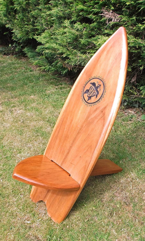 Plantation Designs Silla de Tabla de Surf con Tallado a Mano Tortuga Bridesmaid Plegable Silla Hecho a Mano de Madera Maciza en Bali: Amazon.es: Hogar
