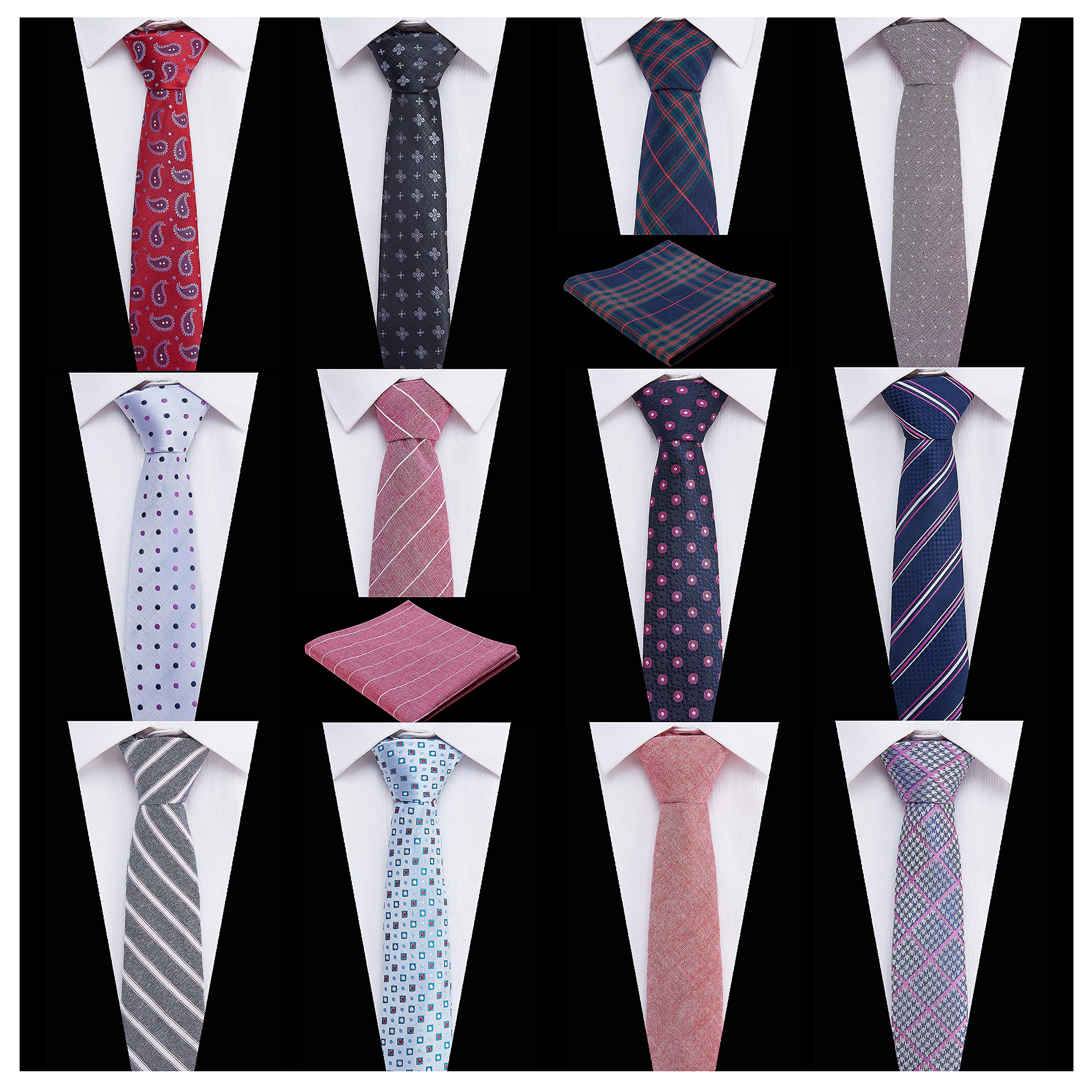 Men's Ties,Tsheoul Noted Lot 12 PCS Classic Cotton Plaid+Printed Floral+Pure Color+Striped Skinny Necktie & 2 PCS Pocket Square - Multiple Sets (2.5''+12 pcs+Square-03)