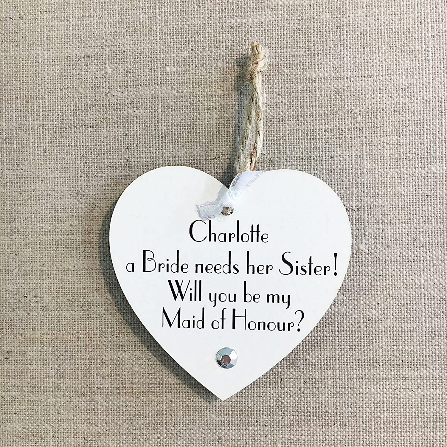 Will you be my Maid of Honour Sister Wedding W288 Wooden Card
