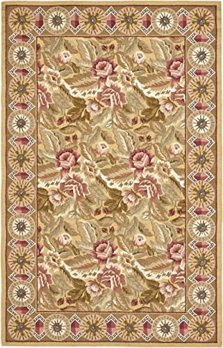 Safavieh Chelsea Collection HK1B Hand-Hooked Gold Premium Wool Area Rug 7 9 x 9 9