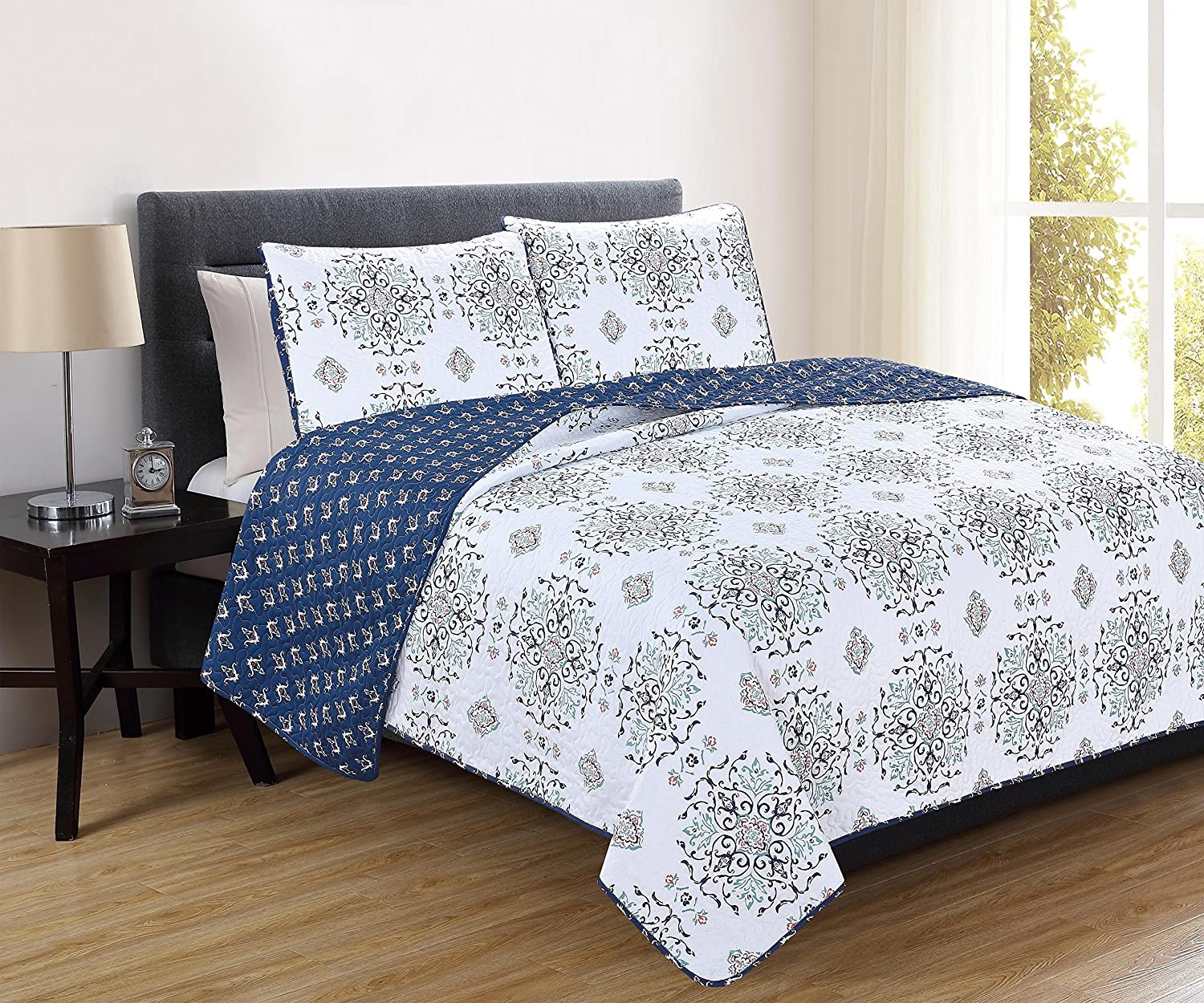 Home Fashion Designs Portia Collection 3 Piece Twin Quilt Set, Navy
