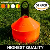 50 Marker Cones & Stand - Highest Quality Available [Net World Sports]