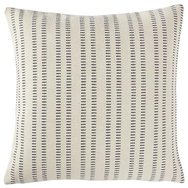 Stone & Beam French Laundry Stripe Pillow, 17  x 17 , Ivory, Grey