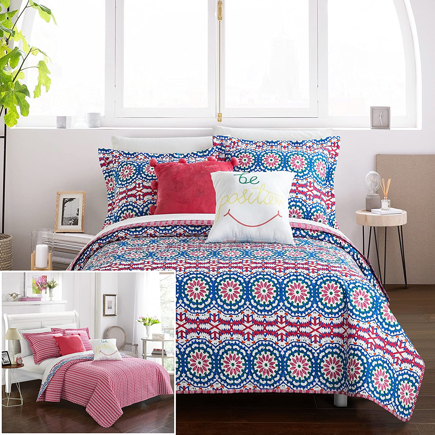 Chic Home 9 Piece JoJo Reversible Contemporary Floral Bohemian Printed with Stripe Reversible Bed in a Bag, Luxury Pillows and sheetts Set Included. Full Comforter Set Fuschia
