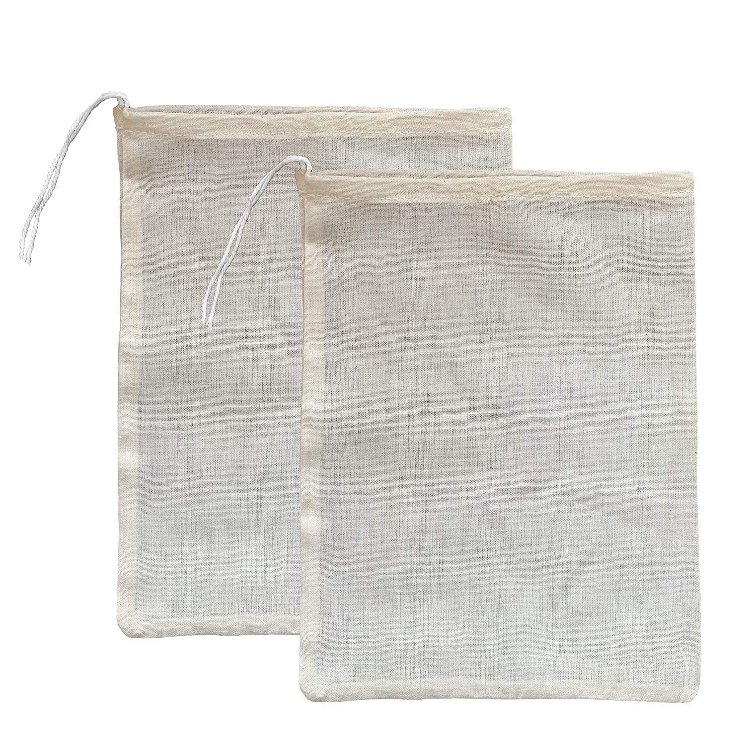 "(2 Pack) Premium Natural Cotton Cheesecloth Bags for Straining Almond Milk, Yogurt, Juice - Small 10""x 8"" Suorou Nut Milk Bag - Reusable Fine Mesh Cheese Cloth Strainer with Easy open Drawstring A1T-pYgtmZL"