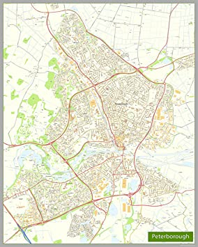 Peterborough Street Map Paper Size 160 x 200 cm Amazoncouk