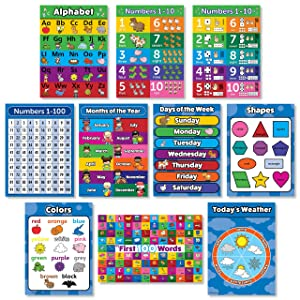 Toddler Learning Poster Kit - Set of 10 Educational Wall Posters for Preschool Kids - ABC - Alphabet, Numbers 1-10, Shapes, Colors, Numbers 1-100, Days of the Week, Months of the Year, Weather Chart