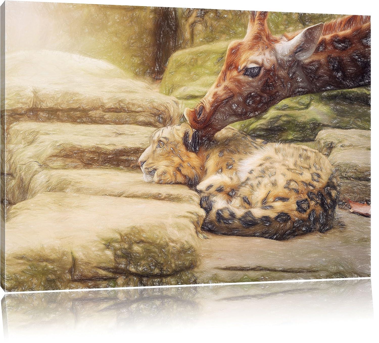 Santander de peluche de leopardo y jirafa arte cera efecto sobre lienzo, XXL enormes Fotos completamente enmarcado con camilla, impresión Arte en mural con ...