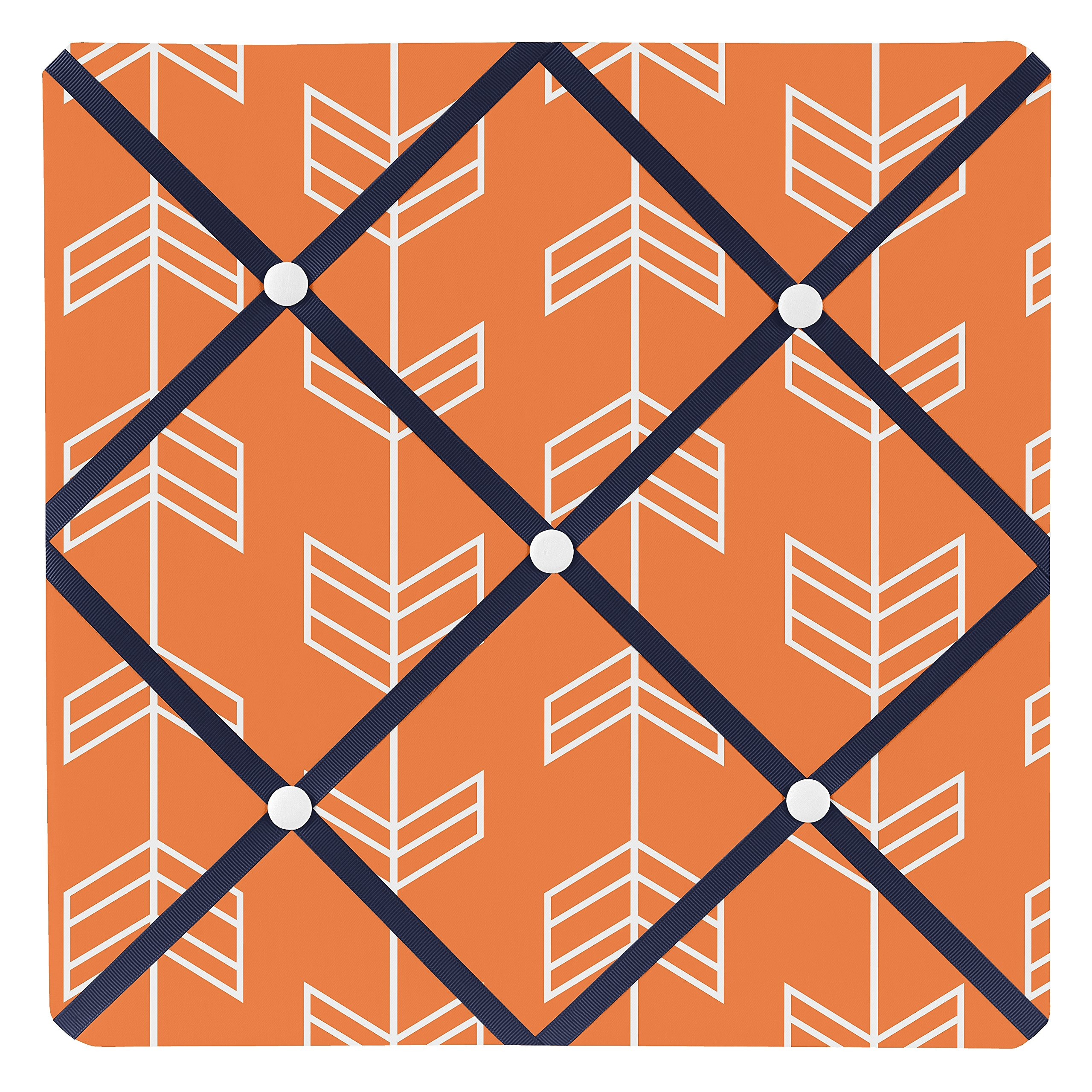 Sweet Jojo Designs Orange and Navy Fabric Memory/Memo Photo Bulletin Board for Arrow Collection by Sweet Jojo Designs