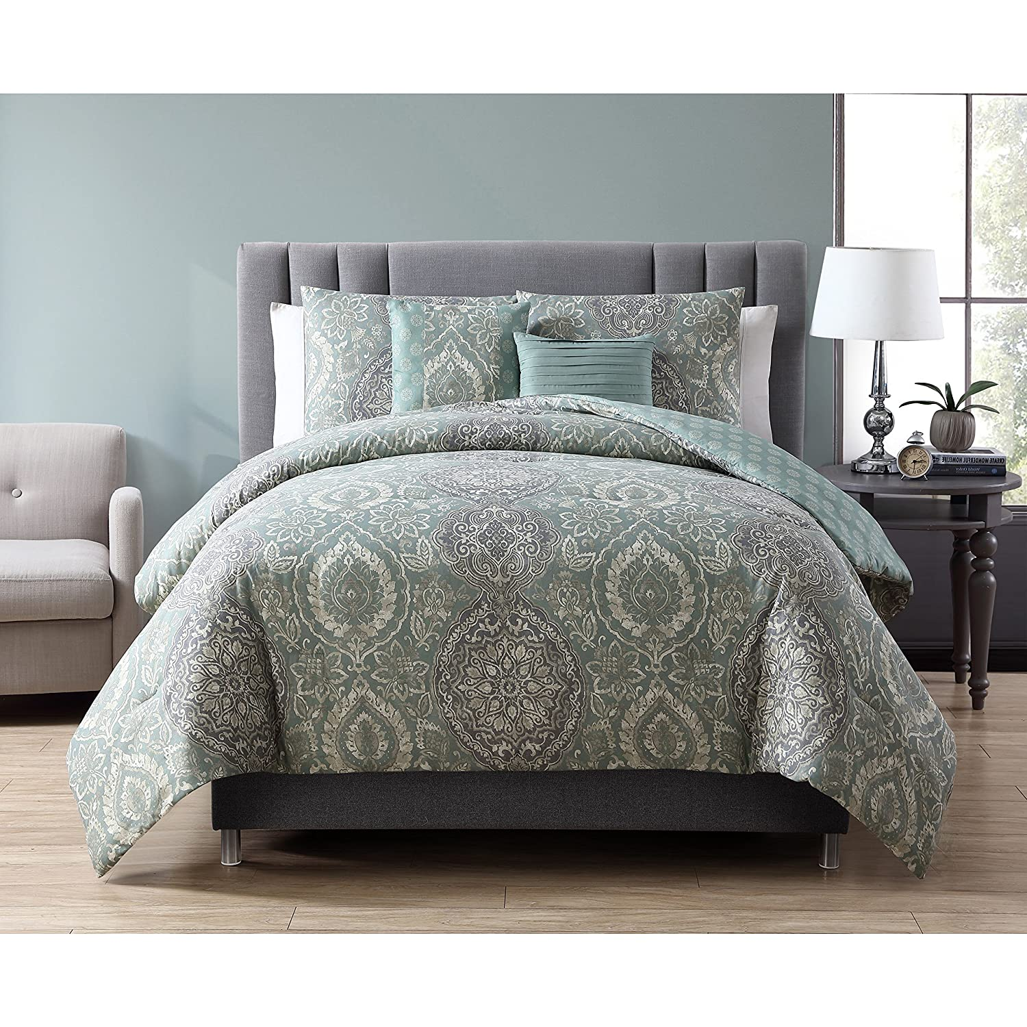 5 Piece Sage Green Gray Paisley Pattern Comforter Queen Full Set, Light Grey Green Floral Bohemian Medallion Shabby Chic, Soft Reversible Mandala Adult Bedding Master Bedroom Contemporary, Polyester