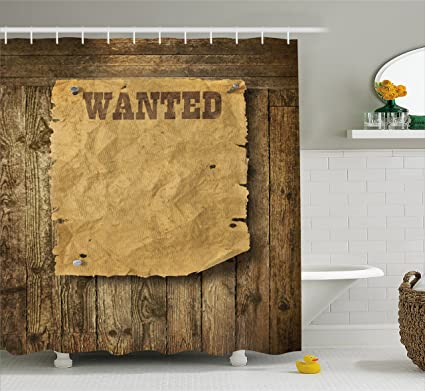 Amazon.com: Lunarable Western Shower Curtain, Old Wooden Texture ...