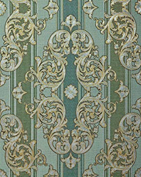 Papier Peint Baroque Edem 580 35 Texture Aspect Textile Metalliques Vert Vert Pin Or Nacre Argent 5 33 M2