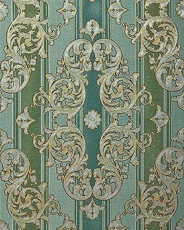 Barock Tapete Edem   Hochwertige Gepragte Tapete In Textiloptik Und Metallic Effekt Kiefern