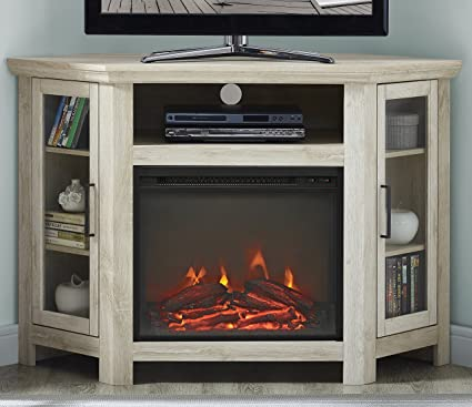 Amazon Com We Furniture 48 Wood Corner Fireplace Media Tv Stand
