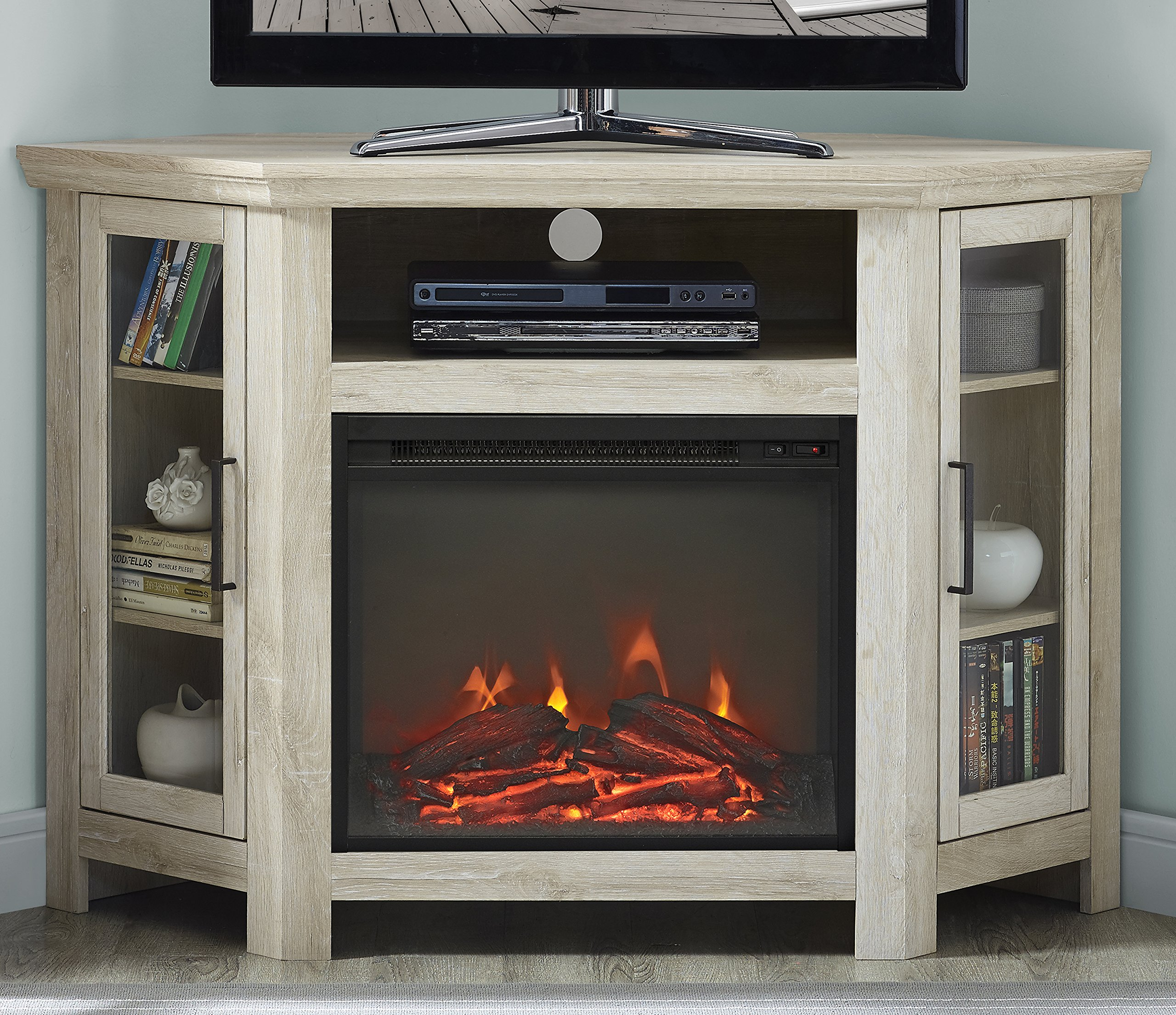 WE Furniture 48'' Wood Corner Fireplace Media TV Stand Console - White Oak