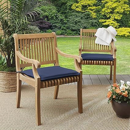 Mozaic Sunbrella Amcs114012 Indoor Outdoor Cushion Corded Chair Pad Set 17 In W X 17 In D Canvas Navy Garden Outdoor