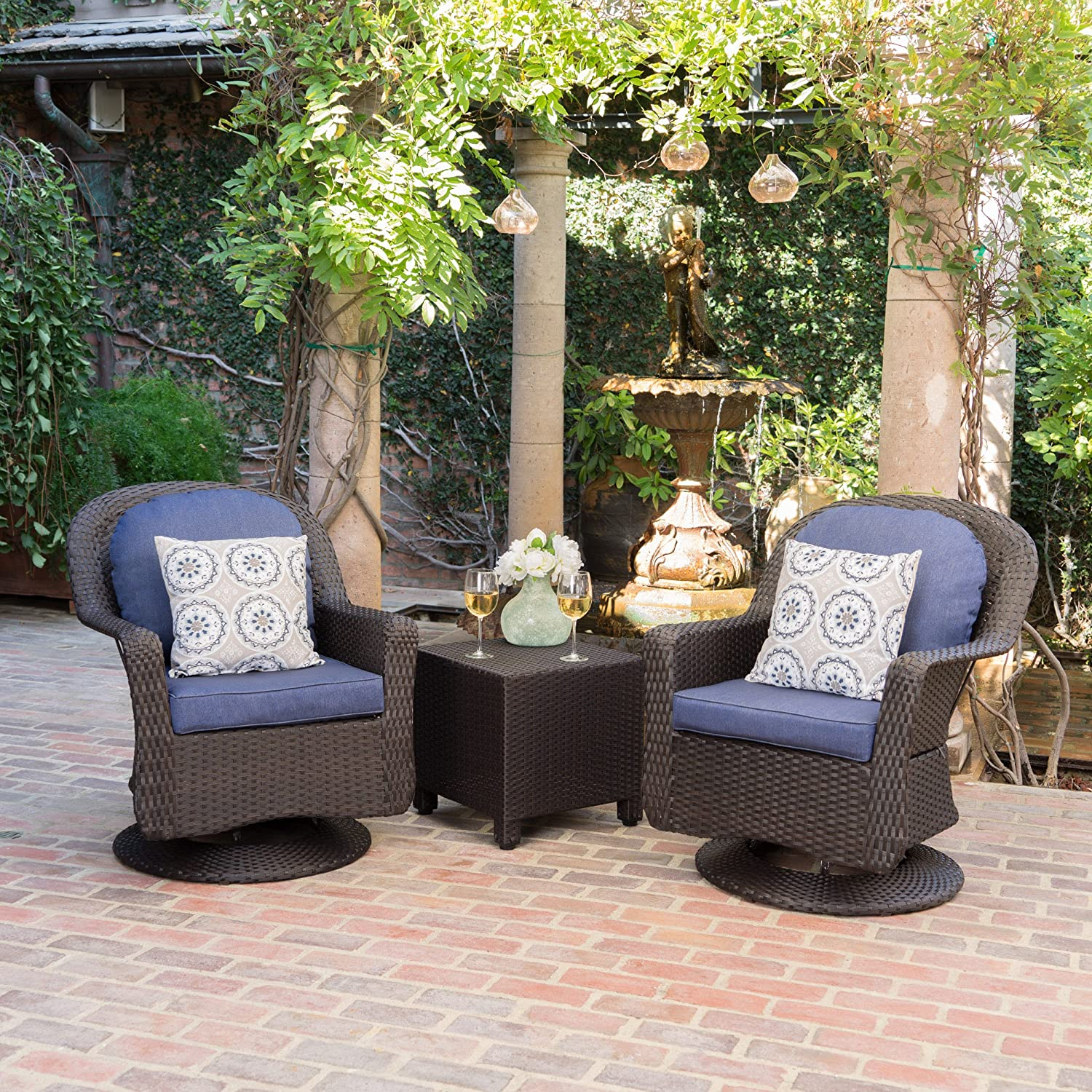 Christopher Knight Home Linsten Outdoor Dark Brown Wicker Swivel Club Chairs and Side Table Set with Navy Blue Water Resistant Cushions