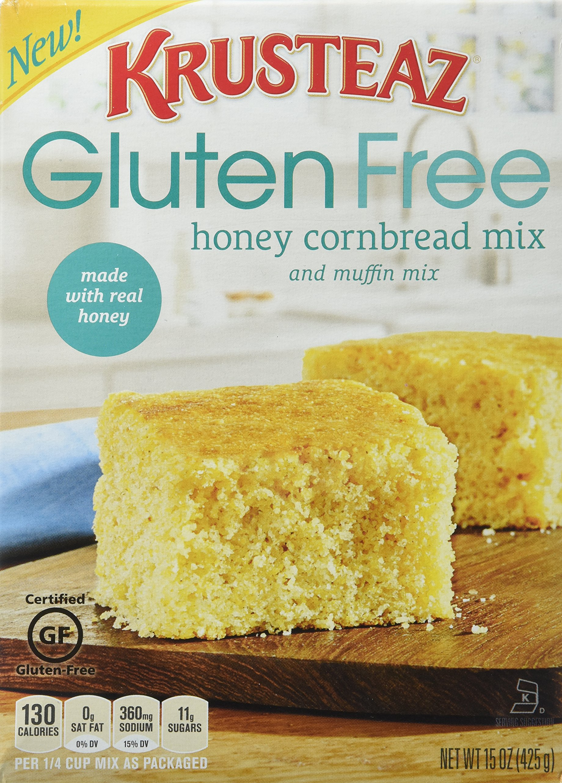 Krusteaz, Gluten Free, Honey Cornbread Mix, 15oz Box (Pack of 4) by Krusteaz