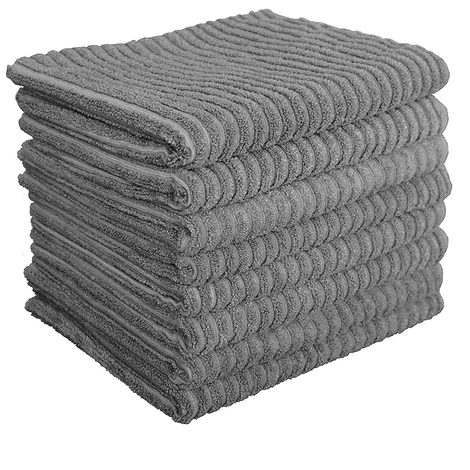 Gryeer Microfiber Kitchen Towels - Super Absorbent Dish Towels - One Side Ribbed One Side Smooth Tea Towels, 26x18 Inch, Pack of 8, Gray
