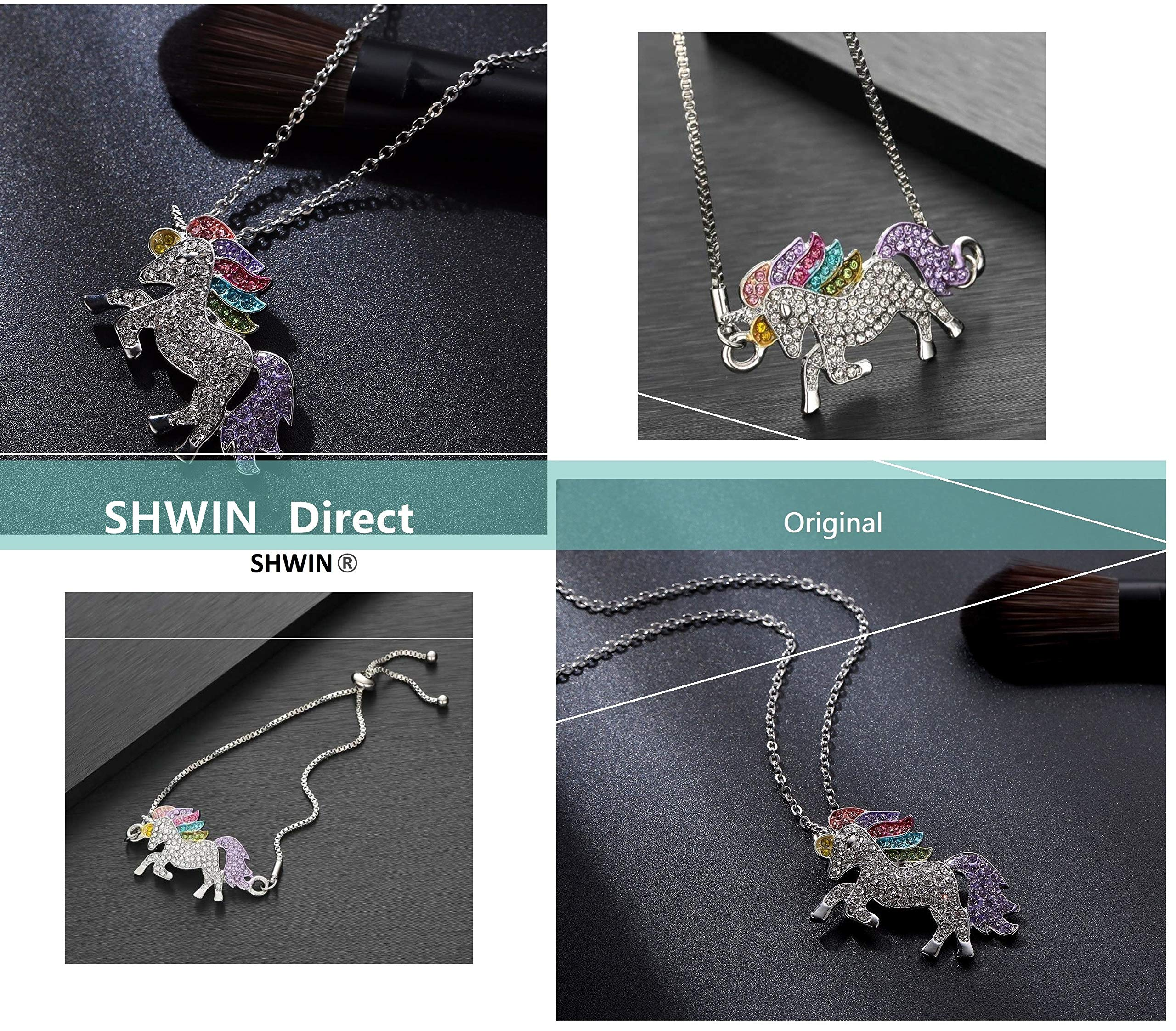 SHWIN Unicorn Necklace – 2 or 4 Pack Rainbow Unicorn Necklace Bracelet Set for Girls Jewelry Unicorn Gifts Set