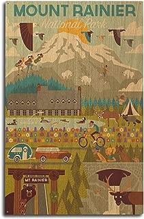 product image for Lantern Press Mount Rainier National Park, Washington - Geometric (10x15 Wood Wall Sign, Wall Decor Ready to Hang)