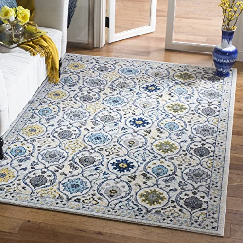 Safavieh Evoke Collection EVK210C Contemporary Ivory and Blue Area Rug 3 x 5