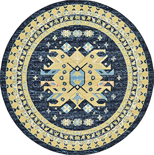 Unique Loom Taftan Collection Geometric Tribal Navy Blue Round Rug 8 0 x 8 0