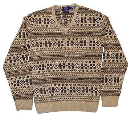 ce52f5466 Ralph Lauren Purple Label Mens Handknit Cashmere Indian Sweater Brown Beige  XXL