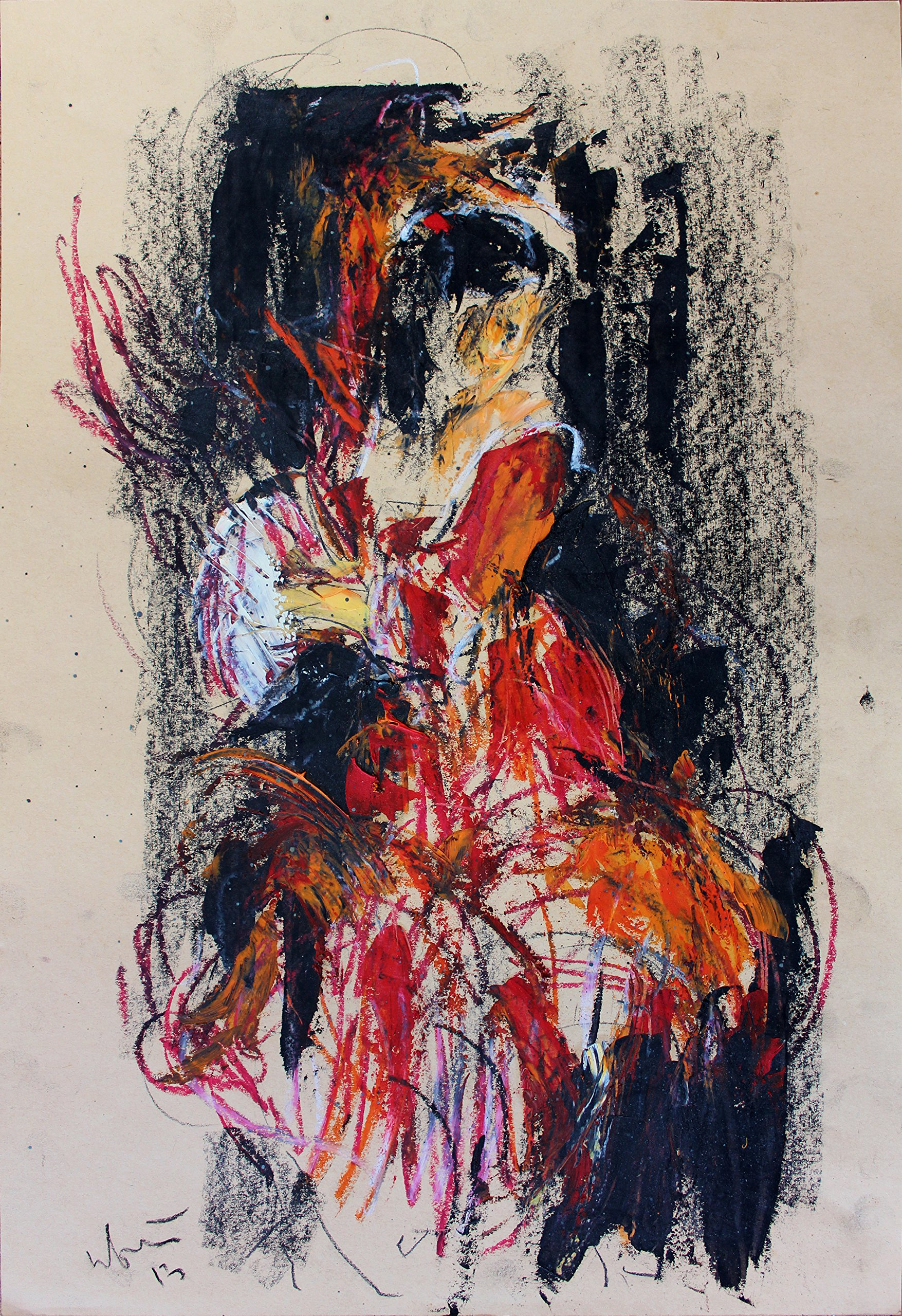 Abstract Original drawing Flamenco drancer Modern wall art Charcoal Oil Pastel Artistic Woman Figurative art by IvMarART