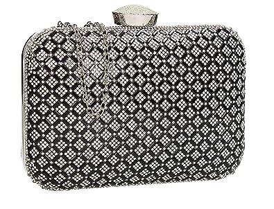 4ad72d49c53 Kylie Diamante Sparkle Large Box Clutch Womens Party Prom Wedding Ladies  Bag - Black  Handbags  Amazon.com