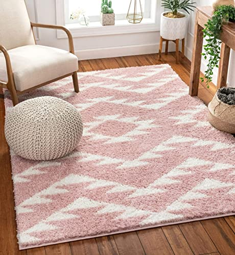 Well Woven Madison Shag Edona Pink Moroccan Tribal 7'10″ x 10'6″ Area Rug