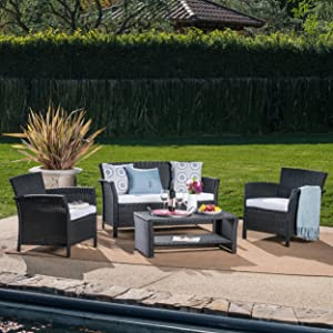 Christopher Knight Home St. Lucia Outdoor Wicker Chat Set with Water Resistant Cushions, 4-Pcs Set, Black / White