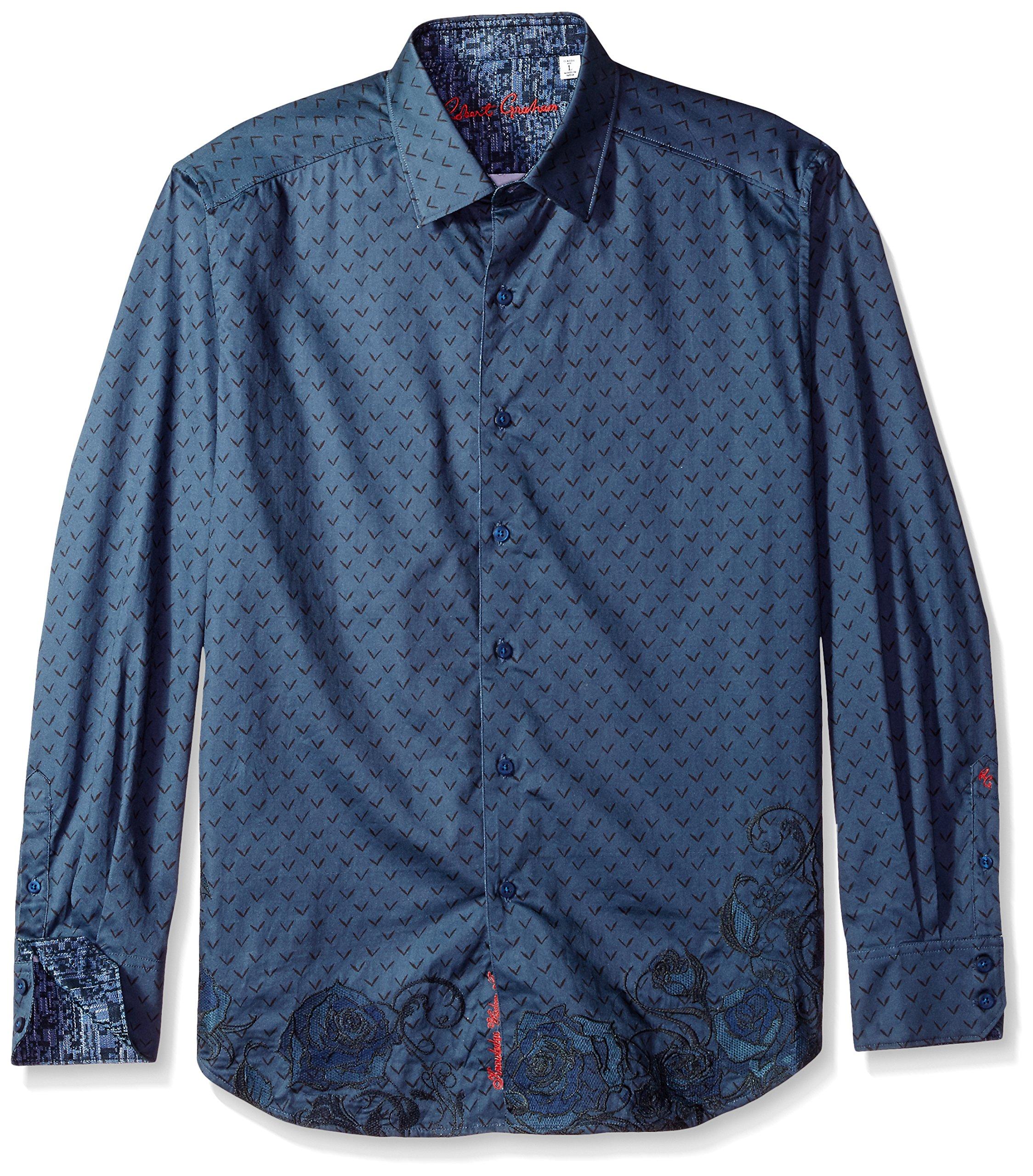 Robert Graham Men's Lionel Classic Fit Sport Shirt, Indigo, XLarge