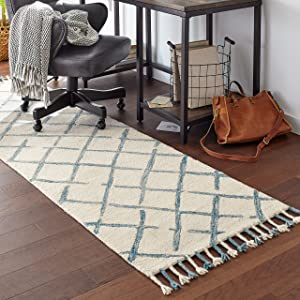 "Stone & Beam Tassled Criss-Cross Wool Runner Rug, 2' 6"" x 8', Blue and White"