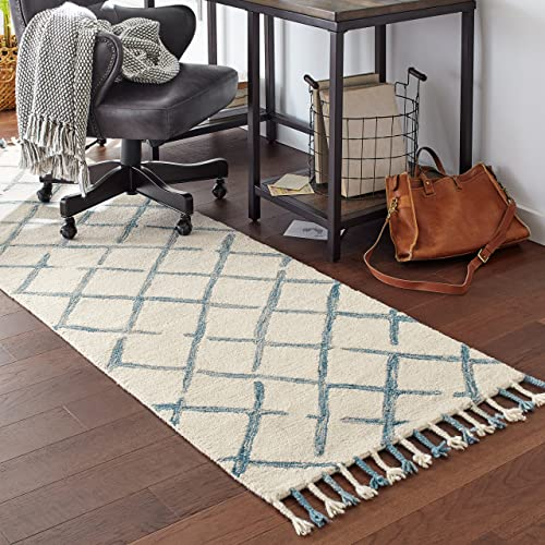 Stone Beam Tassled Criss-Cross Wool Runner Rug, 2 6 x 8 , Blue and White